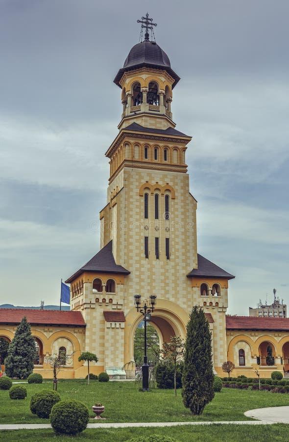 Tour de Bell de cathédrale de couronnement, Alba Iulia, Roumanie photographie stock
