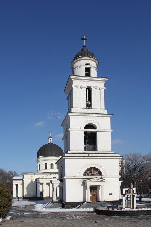 Tour de Bell de cathédrale de nativité à Kishinev ChiÈ™inău Moldau image libre de droits
