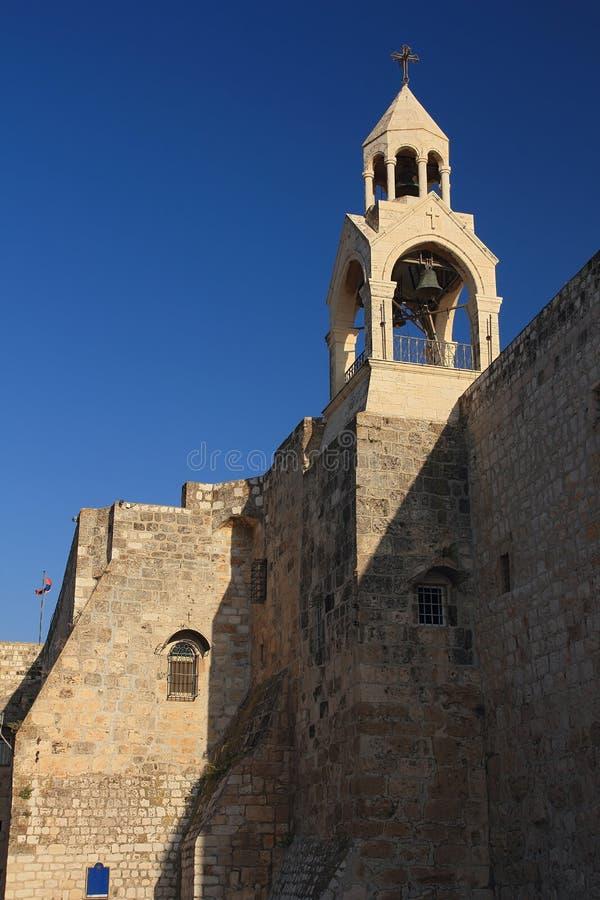 Tour de Bell de l'église de la nativité à Bethlehem. image stock