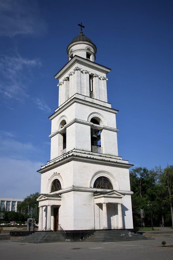 Tour de Bell de la cathédrale de la nativité du Christ à Chisinau, Moldau image stock