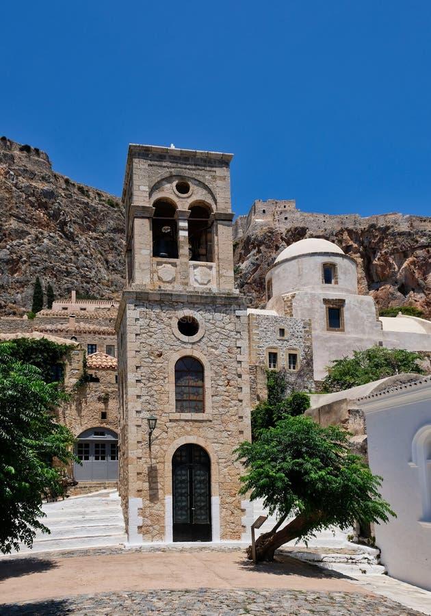 Tour de Bell grecque d'église orthodoxe, Monemvasia, Grèce photographie stock