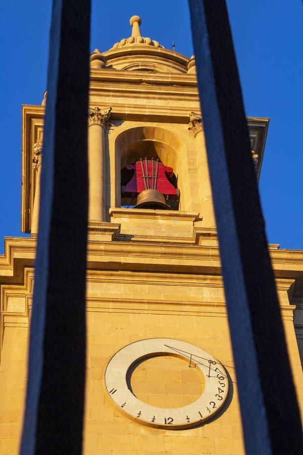 Tour de Bell de la cathédrale de Pamplona, en Navarre, l'Espagne, détail architectural photographie stock
