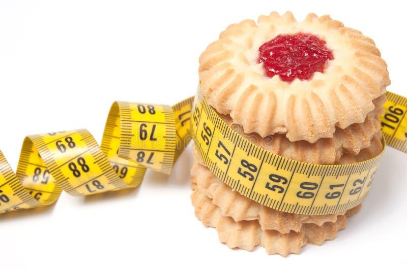 Tour de biscuit et type de mesure, d'isolement sur le blanc image stock