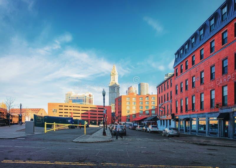 Tour de bureau de douane et secteur financier et Haymarket à Boston photos stock