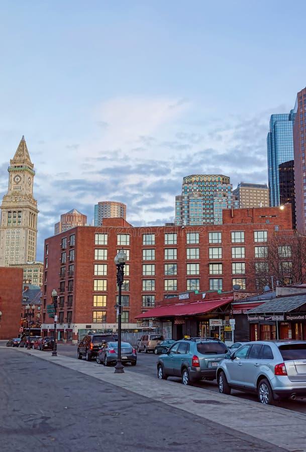Tour de bureau de douane et secteur financier et Haymarket à Boston image stock