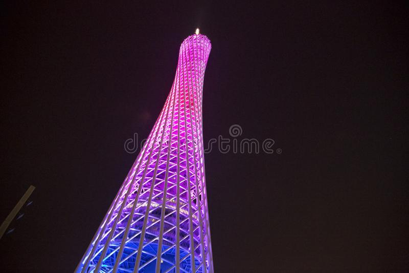 Tour de canton dans des scènes de nuit de Guangzhou de ville image libre de droits