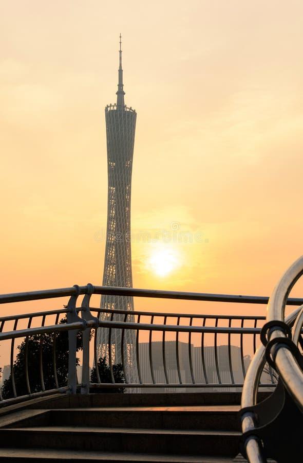 Tour de canton de Guangzhou au coucher du soleil, Guangdong, Chine images libres de droits