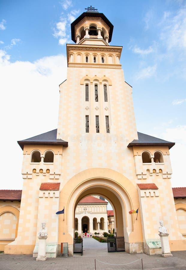Tour de cathédrale de couronnement, Iulia alba, Roumanie image stock