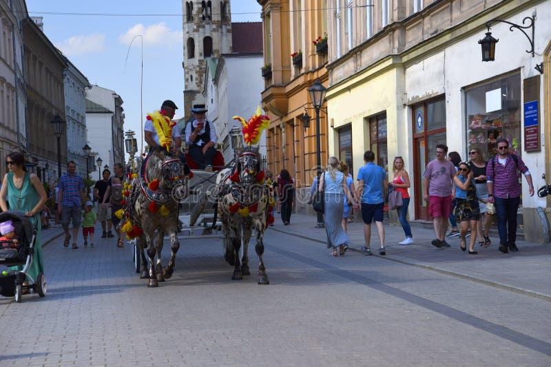 Tour de chariot par Cracovie Cracovie la capitale culturelle officieuse de la Pologne photos stock
