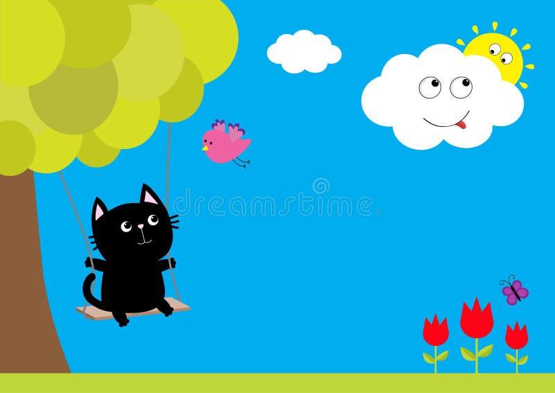 Tour de chat sur l'oscillation La fleur de tulipe a placé avec la feuille et l'insecte de papillon de vol Usine d'arbre, oiseau d illustration libre de droits