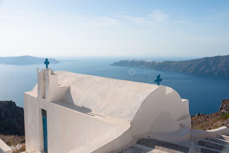 Tour de cloche unique sur l'île de Santorini, Grèce image stock