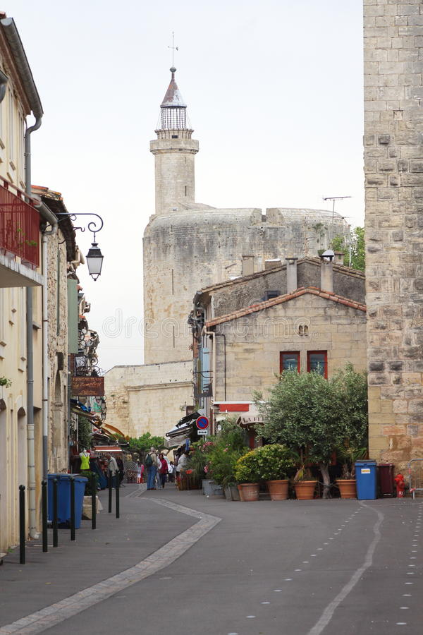 Tour de Constance, Aigues-Mortes, France. Aigues-Mortes is a french town whose medieval centre is enclosed within rectangular ramparts, complete with circular stock photo