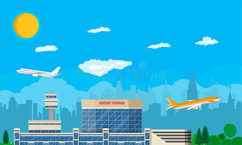 Tour de contrôle d'aéroport, terminal illustration libre de droits
