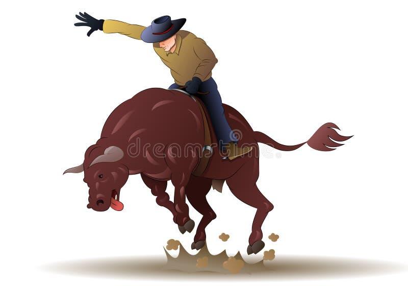 Tour de cowboy un taureau sauvage sur le jeu de rodéo sur d'isolement illustration de vecteur