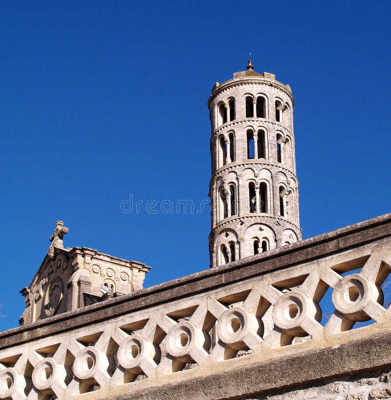 Tour de Fenestrelle, cathédrale de Saint-Theodorit dans Uzes photo libre de droits