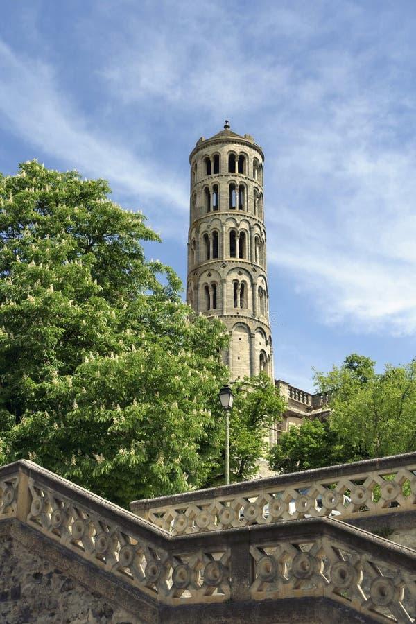 Tour de Fenestrelle, cathédrale de saint-Theodorit, Uzes, le Gard, France photographie stock
