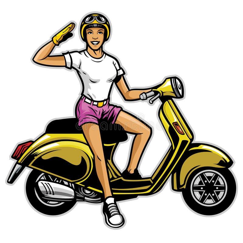 Tour de fille le scooter illustration libre de droits