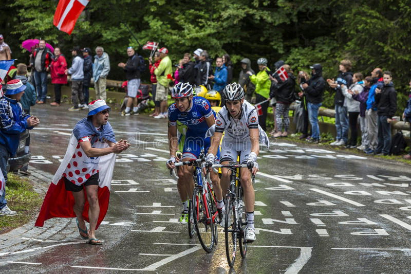 Tour de France-Aktion lizenzfreie stockfotografie