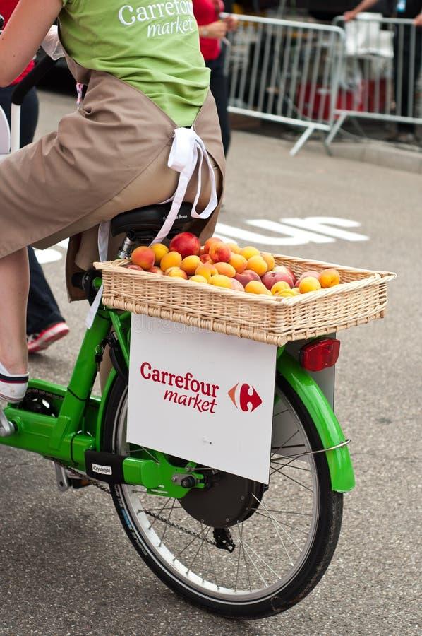 Tour de France - Carrefourmarktwerbung lizenzfreies stockbild
