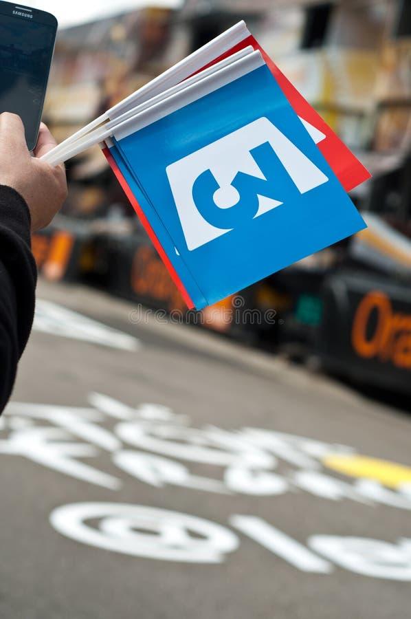 Tour de France - Flaggenfranzosefernsehen stockfotografie