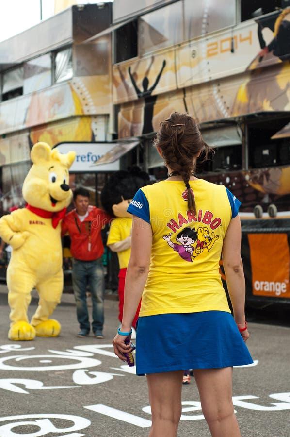 Tour de France - haribo Werbung stockfoto
