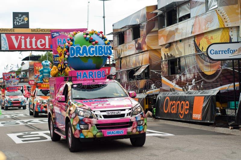 Tour de France - haribo Werbung lizenzfreie stockfotografie