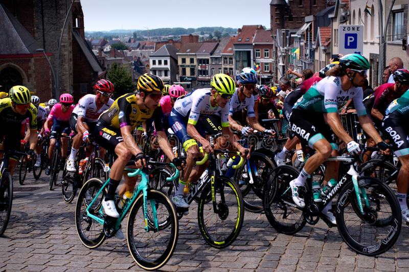 Tour de France 2019: Stage 1 in Belgium. Riders of JUMBO-VISMA, Wanty-Gobert Cycling and Bora–hansgrohe teams stock images