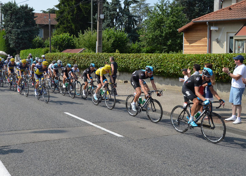 Tour de france 2013, 100 th. Etape 14 13 july 2013 leader in yellow jersey christopher froome royalty free stock photo