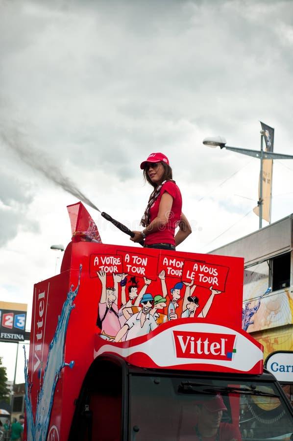 Tour de France 2014 - Vittel-Werbung lizenzfreies stockfoto
