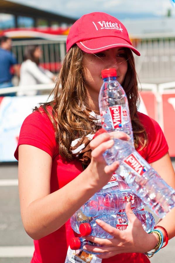 Tour de France - Vittel-Werbung lizenzfreie stockfotografie