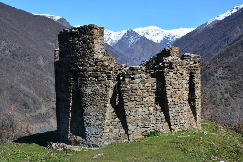 Tour de Galaja en montagnes Azerbaïdjan d'Ilisu Caucase photo libre de droits