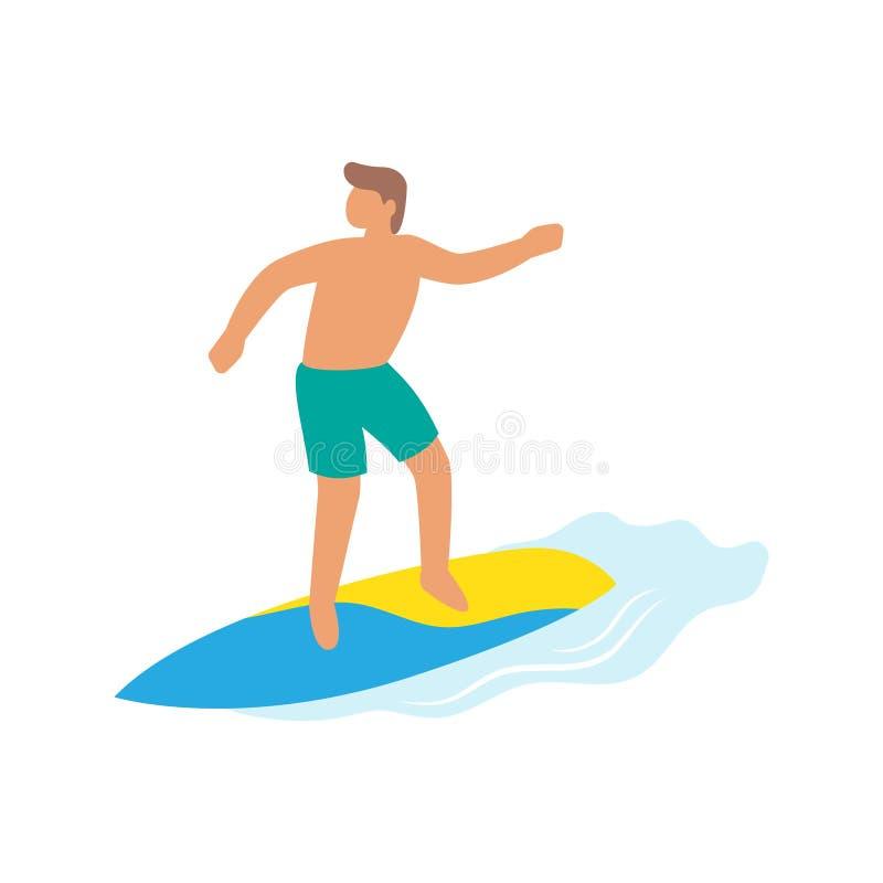 Tour de gar?on de surfer une planche de surf, surfant sur la vague illustration libre de droits