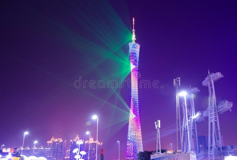 Tour de Guangzhou à l'exposition de lumière de nuit photos stock