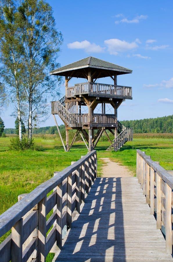 Tour de guet dans la forêt de Bialowieza, Pologne images libres de droits