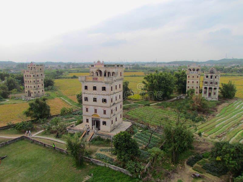 Tour de guet de Kaiping Diaolou dans le site de patrimoine mondial de l'UNESCO de Chikan photographie stock libre de droits