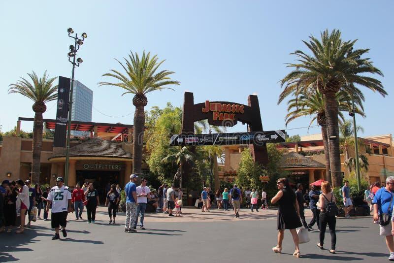 Tour de Jurassic Park aux studios universels Hollywood images libres de droits