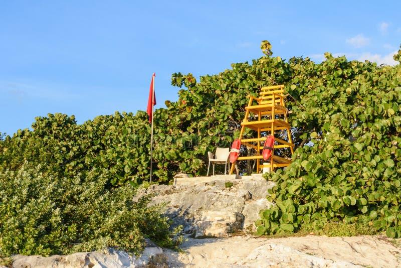 Tour de maître nageur sur la plage avec le fond de végétation verte et de ciel bleu image libre de droits