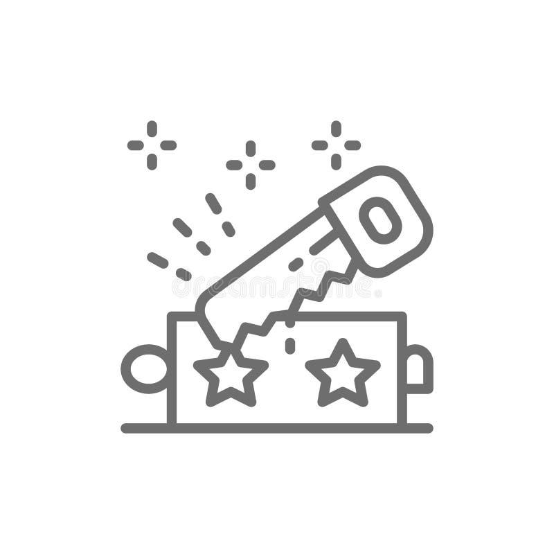 Tour de magie avec la ligne icône de scie illustration de vecteur