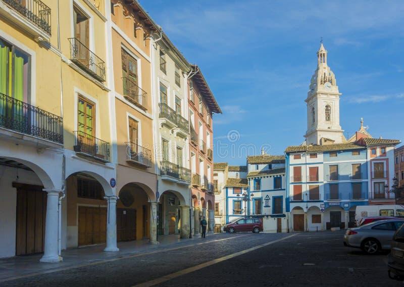 Tour de Market Place et d'église, Xativa, Espagne photos libres de droits