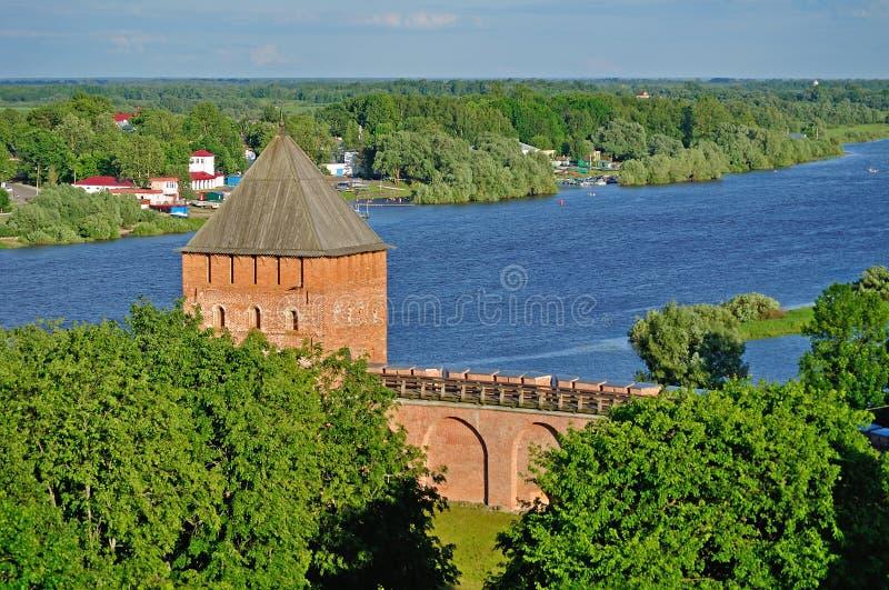 Tour de palais de Novgorod Kremlin d'une taille, Veliky Novgorod photos stock