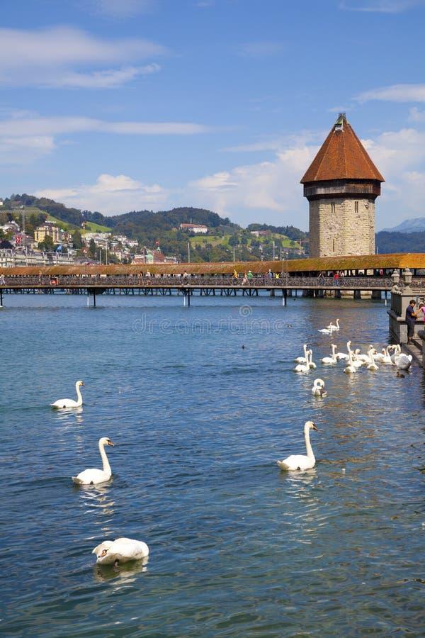 Tour de passerelle et d'eau de chapelle dans le fleuve de Reuss, Luze image libre de droits