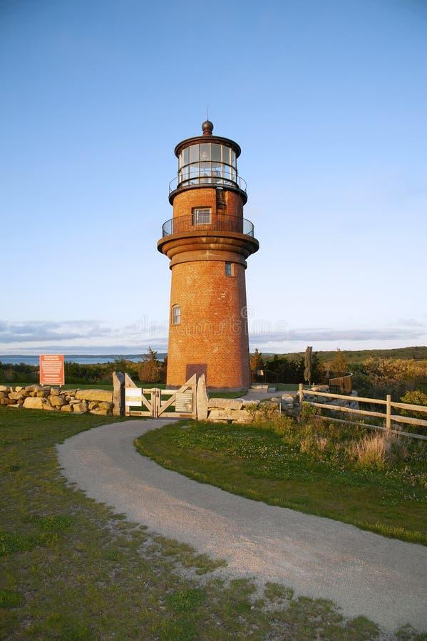 Tour de phare de brique sur le sommet sur l'île dans le Massachusetts photos libres de droits