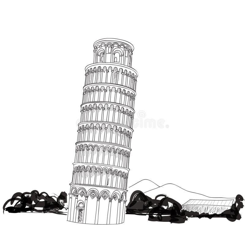 Tour de Pise avec l'illustration tirée par la main de paysage. Tour penchée de Pise, patrimoine mondial à Pise, Toscane, Italie illustration libre de droits