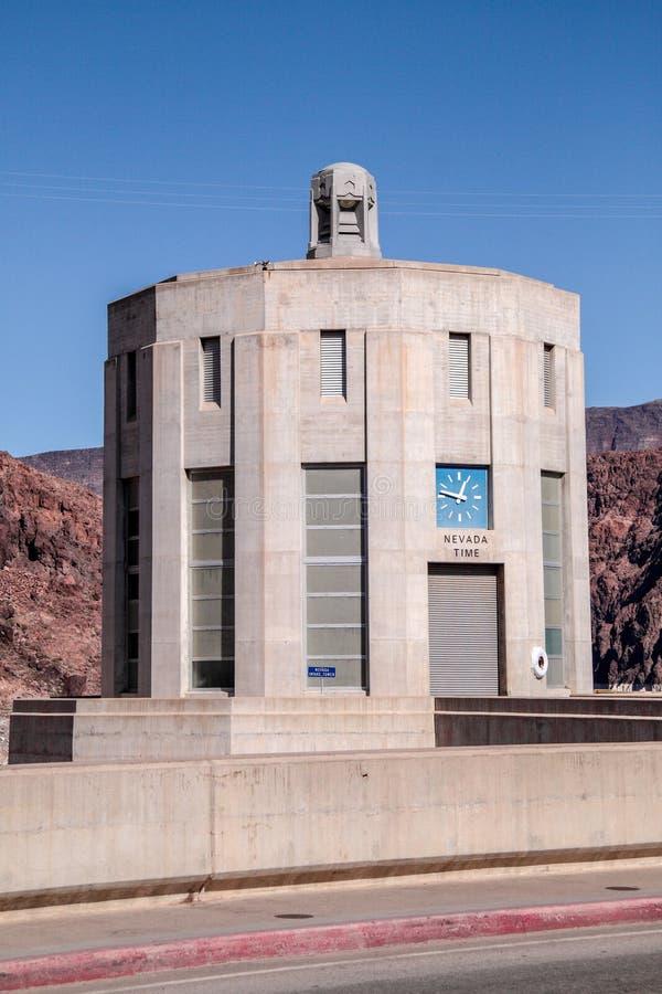 Tour de prise de barrage de Hoover avec le horodateur de l'Utah photos libres de droits