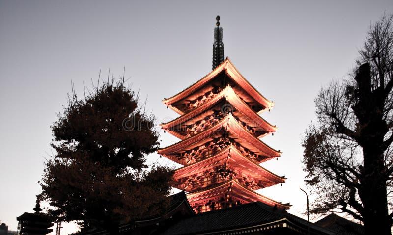 tour de temple de sensoji de pagoda du Japon image stock