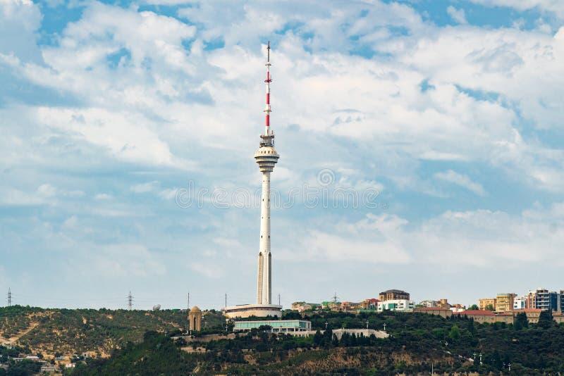 Tour de TV dans la ville de Bakou photo libre de droits
