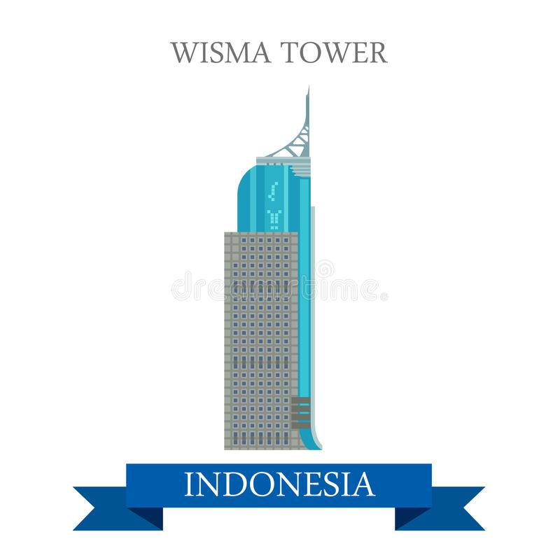 Tour de Wisma attraction plate de vecteur à Jakarta, Indonésie illustration stock