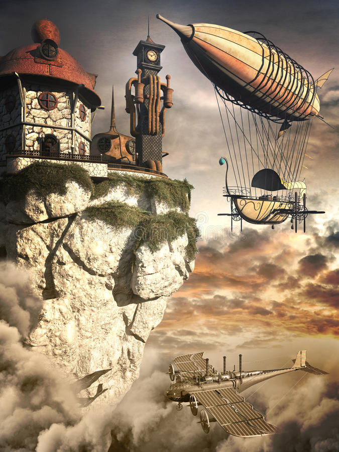 Tour de zeppelin et d'horloge illustration libre de droits