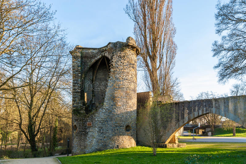Tour des Esprits, medieval curtain wall of Metz, France stock photography