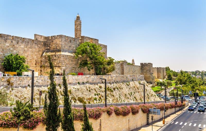 Tour des murs de David et de ville - Jérusalem photo libre de droits